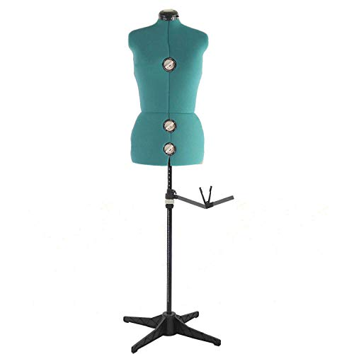 PDM Worldwide 11 Dials Dress Form with Rolling Base & Tri-Pod Stand, Adjustable Female Mannequin Torso Body for Sewing, Dressmakers Up to 69 Inch Shoulder Height (Small, Green)