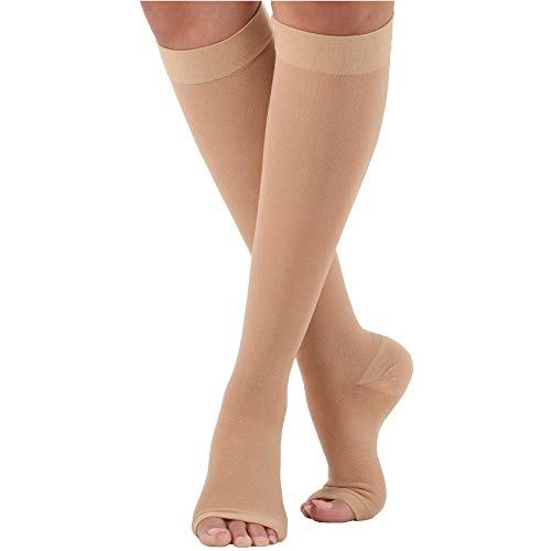 Made in The USA Opaque Compression Socks Knee-Hi Open Toe 20-30mmHg Beige Large