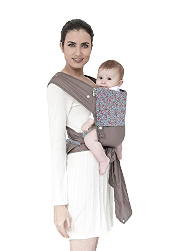 MHUG Ergonomic and patented Mei Tai baby carrier - Made in Italy (Red Romantic variant, 100% very soft certified cotton, red and dove-gray flowers).