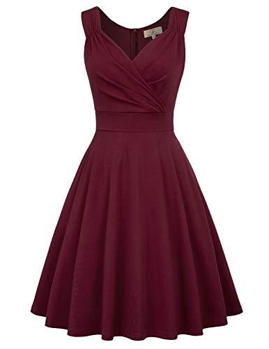 50s Kleider Rockabilly Vintage Retro Kleid cocktailkleider dunkelburgundy a Linie Kleider CL107-7 L