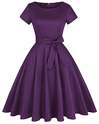 Feature: Vintage Dress with Pockets, 1950s Rockabilly A-lined Midi Dress, Short sleeve & Half sleeve, Solid Colors & Floral Printed, Knee-Length, Concealed Zipper Closure at back, Crew neck, Full circle, Detachable belt Occasion: Suit for Cocktail dr...