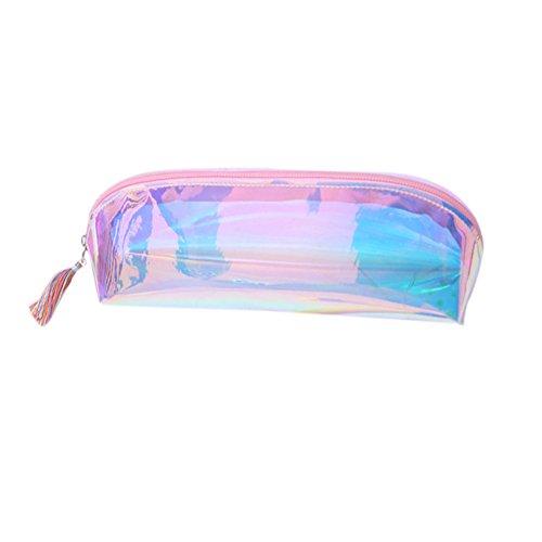 Fablcrew Astuccio per le matite o per i cosmetici, per scuola o lavoro, trasparente, Pink, 21x5x7cm