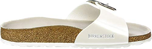 Birkenstock Madrid Big Buckle, Zuecos para Mujer, Blanco (Pearly White/Hex Mud), 37 EU