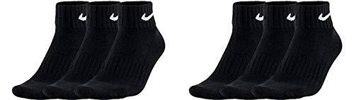 Nike Calzini da uomo e da donna, 6 paia di calzini corti alla caviglia, colore bianco, nero (bianco grigio e nero), taglia 34, 36, 38, 40, 42, 44, 46, 48, 50 Nero L