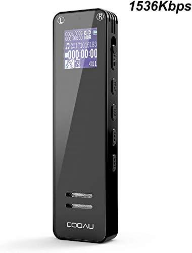 Registratore Vocale Digitale 1536 kbps, COOAU Registrazione HD da 8 GB con Clip Posteriore,...