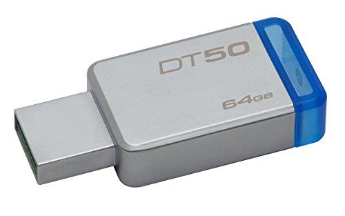 Pendrive Datatraveler 50 64Gb, Kingston, Pendrives, Prata / Azul