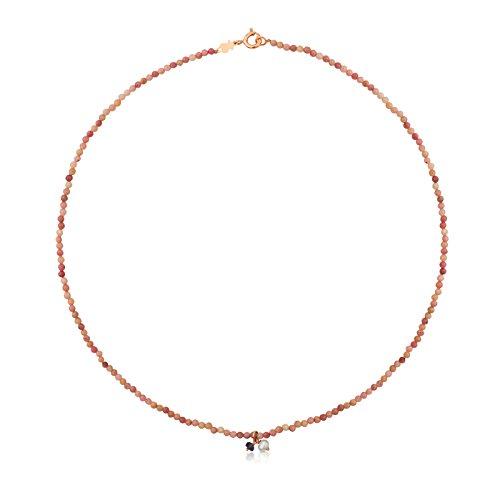 Collar TOUS Camille de plata vermeil rosa con iolita de 0,3 cm y perla, Longitud 38 cm