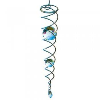 CIM Wind-Spirale - Crystal Twister - Windspiel 6x34cm, Kugeln: Ø5cm/Ø3cm - inkl. Haken, Kugellagerwirbel, Nylonschnur, Zwei Glaskugeln und Glastropfen im Facettenschliff