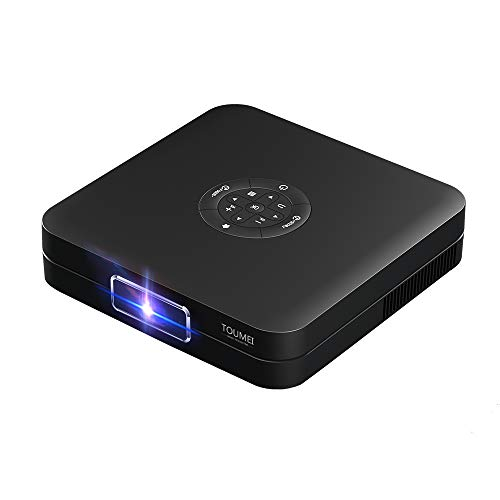 TOUMEI 3D Mini Smart Projector 350 ANSI Lumens High Brightness DLP Projector 30000Hrs Life 1080p 4K Video decoding Support WiFi Bluetooth 4.2 Electro Focus Compatible with PS4,PC via HDMI USB K1