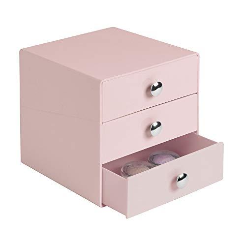 InterDesign Drawers Caja almacenaje con 3 cajones   Cajonera plástico para Maquillaje y cosméticos   Accesorios para baños   Plástico Color Rosa