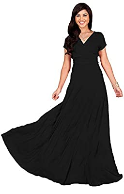Plus sized short sleeved maxi dresses; plus size gowns with sleeves; larger sizing clothing for the curvy lady; comfortable loose fitting Black maxi's for ladies; cap sleeve full-figure dress; flattering and slimming cocktail dress Short cap sleeve m...