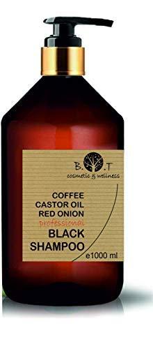 Shampoo Nero alla Caffeina, Olio di Ricino e Estratto di Cipolla Rossa Anticaduta Crescita dei capelli Detox Shampoo Anti Inquinamento Volume 1000 ml