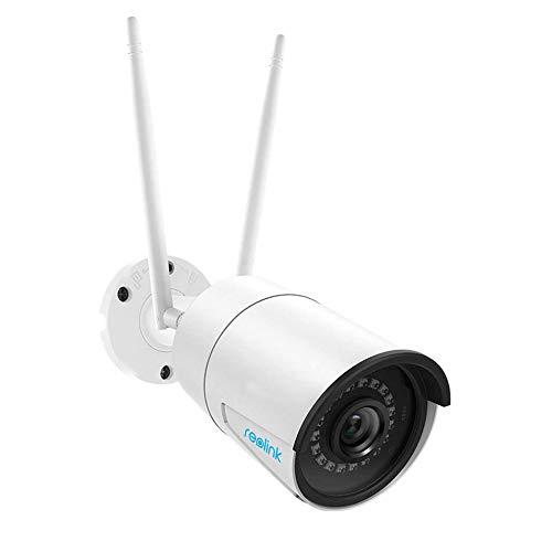 Reolink Videocamera Sorveglianza Esterno WiFi 4MP 2.4GHz o 5GHz Slot per Scheda Micro SD Integrato (Scheda Micro SD Non Inclusa) IP66 Telecamera per Telecamera di Sicurezza Supporto Audio RLC-410W