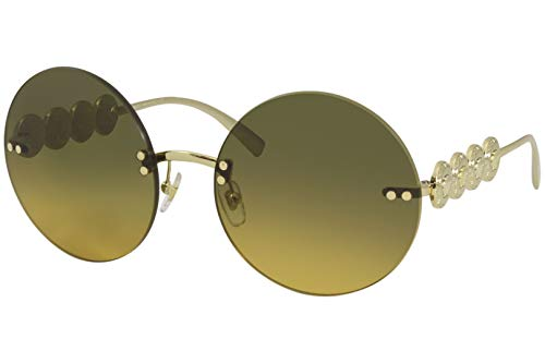 31hhYXJE2aL Brand: Versace Model: 2214 Style: Fashion Round Frame/Temple Color: Gold - 1002/18 Lens Color: Orange/Light Green Gradient Size: Lens-59 Bridge-18 B-Vertical Height-59 ED-Effective Diameter-59 Temple-135mm Gender: Women's 1-Year Manufacturer Warranty Frame Material: Metal Geofit: Global