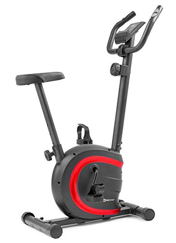 Hop-Sport HS-015H Heimtrainer Fahrrad für Zuhause - kompaktes Fitnessbike ideal für Senioren - Fitnessfahhrad mit Trainingscomputer für EIN max. Nutzergewicht von 120kg Rot