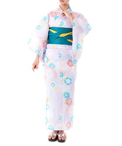 [キョウエツ] 浴衣セット 顔料染め フリーサイズ fy27 4点セット(顔料浴衣、半幅帯、下駄、浴衣肌着) レデ...