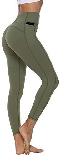 Persit Sporthose Damen, Sport Leggins für Damen Yoga Leggings Yogahose Sportleggins, Olivengrün, 40-42 (Herstellergröße: L)