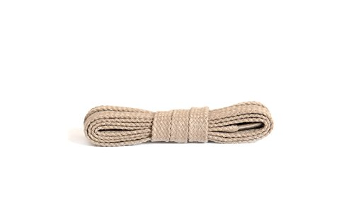 Kaps Cordones planos, cordones de algodón 100%, hechos en Europa, 1 par, muchos colores y longitudes (90 cm - 5 a 6 pares de ojales / 36 - beige claro)