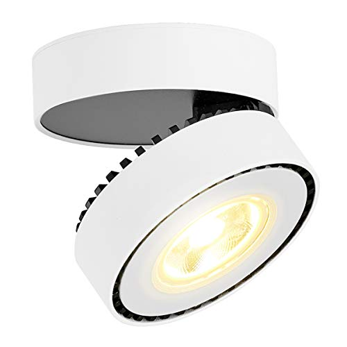 LANBOS 12W LED Aufbauleuchte Deckenleuchte/Deckenspots, Deckenfluter, Deckenstrahler, Decken-Lampe, Wand-Lampe/10x10x6CM/ COB Lampe/ 3000K Warmweiß/Aluminium (Weiß+warmweiß)