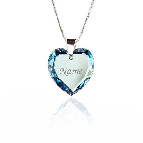 Damen Halskette 925 Sterling Silber mit SWAROVSKI ELEMENTS Herz Anhänger Blue AB Herz und...