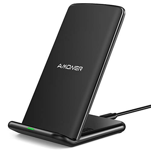 Amoner Fast Wireless Charger,PowerWave 15W kabelloses Ladegerät Induktive Ladestation Schnellladestation für iPhone SE/11/11 Pro/11 Pro Max/XS/XS Max/XR/X/8,10W für Huawei Samsung Galaxy S20/S10/S9