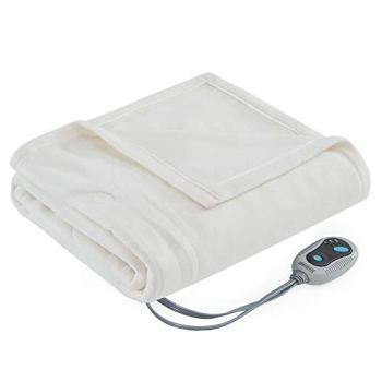 Beautyrest- Electric Heated Blanket Throw Super Soft Hypoallergenic Fleece - 3 Fast Heat Setting with Auto Shut Off - Ivory - 50x60 inches [ 5 Year Warranty ]