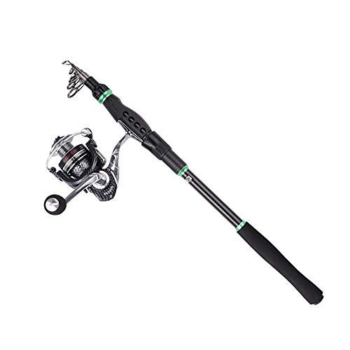 Attrezzi da pesca in carbonio piccola canna da mare a sezione corta mini palo da mare Lu Yagan Canna da pesca set, 14 assi 1000 ruota in metallo + leva singola, 2.4 meters