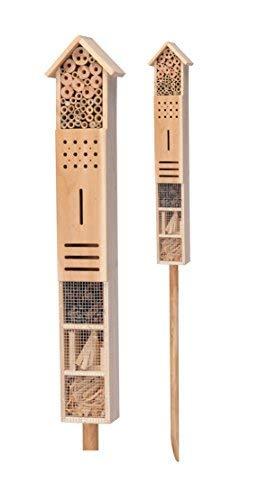 Spetebo Insektenhotel XXL mit Erdspieß - 79 cm x 15 cm x 10 cm - Stand Insektenhaus