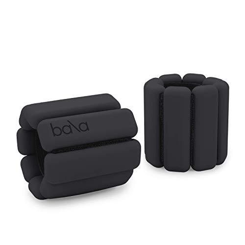 Bala Bangles | Fully Adjustable Wearable Wrist & Ankle Weights | Yoga, Dance, Running, Barre, Pilates, Cardio, Aerobics, Walking | 1 Pound Each, 2 Per Set (Charcoal)