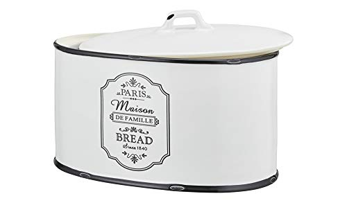 KHG Brotkasten Keramik Weiß Schwarz Oval Brotdose für Brot Brotbox Brotkiste