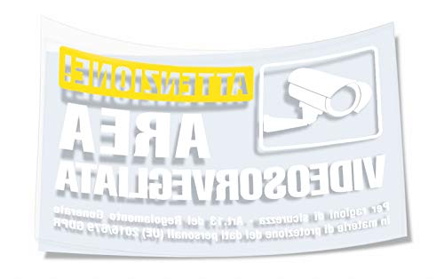 2 Adesivi Videosorveglianza Trasparenti in PVC per interno vetrine - Cartello pellicola adesiva - Mis: 10X15 cm
