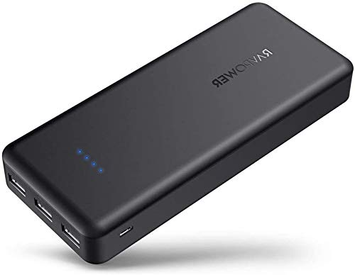 Portable Chargers RAVPower 22000mAh Power Banks 22000 5.8A Output 3-Port Battery Pack (2.4A Input, iSmart 2.0 USB Ports, Li-polymer Battery Banks) Portable Phone Charger For Smartphone Tablet – Black