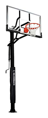 Silverback 60' In-Ground Basketball Hoop, Adjustable Height Tempered Glass Backboard and Pro-style flex Rim