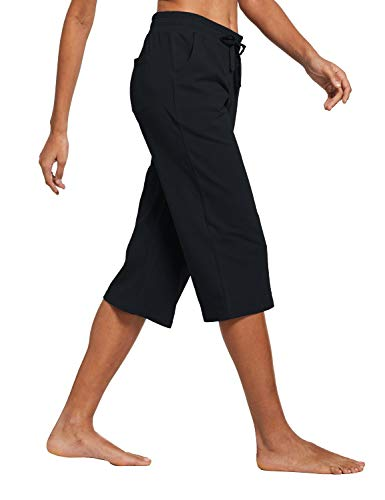 BALEAF Women's Active Yoga Lounge Indoor Jersey Capri Pocketed Walking Crop Pants Black Size L 6