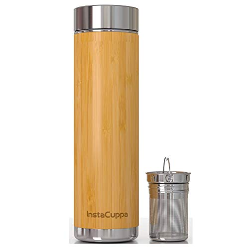 InstaCuppa Bamboo Green Tea Infuser Bottle, 500 ML with Removable Stainless Steel Filter, Idle for...