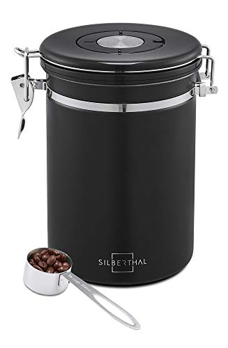 SILBERTHAL Bote café hermético con Cuchara | Tarro Cafe 500g | Bote almacenar café | Recipiente hermético café molido, en Grano o en Polvo de Acero Inoxidable | Contenedor de café