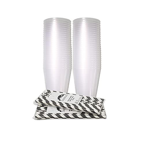 8around 50 Vasos plástico irrompibles flexible reutilizable libre de BPA de 470ml,blanco translucidos,con 50 pajitas de papel,especial coctel mojito cubata agua sidra para fiestas camping playa barcos