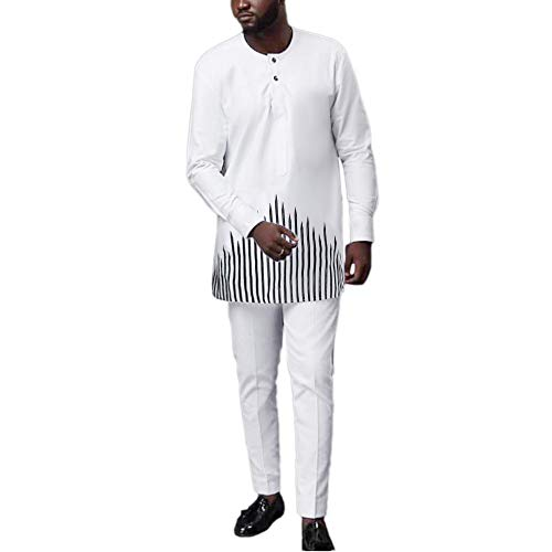 HD Mens African Clothes Embroidery Dashiki Shirts and Matching Pants 2 Piece Outfit,White L