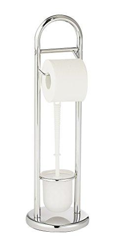 WENKO Stand WC-Garnitur Siena, Ständer für Toilettenpapier & Toilettenbürste, WC-Papierhalter, stehender Rollenhalter inkl. Bürste, Stahl, Ø 19 x 63 cm, chrom