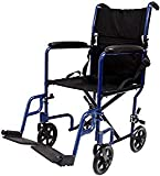 Karman Healthcare LT-2019-BL Folding Aluminum Transport Chair with Removable Footrests, Blue, 19' Seat Width