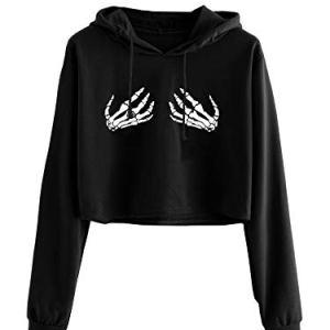MakeMeChic Women's Long Sleeve Skeleton Printed Sweatshirt Crop Top Hoodies