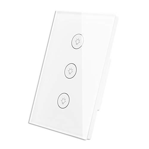 Interruptor WiFi Inteligente de Luz de Pared Táctil con Panel de Vidrio Control Remoto Inalámbrico por APP Funciona con Amazon Alexa, Función de Temporización sin Necesidad de Hub (3 Gang)