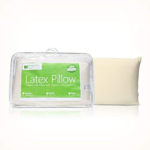 All Natural Premium Latex Pillow with Organic Covering - Queen Medium Firm