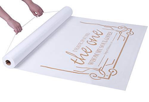 FrenzyBird Wedding Aisle Runner 100 x 3 Feet Beautiful Subtle Golden Words Pattern for Wedding Ceremony Indoor and Outdoor
