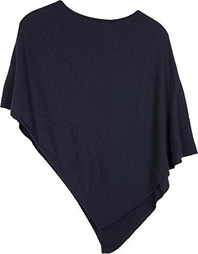 styleBREAKER Damen Feinstrick Poncho in Unifarben, leicht asymmetrischer Schnitt, Ärmellos, Rundhals 08010042, Farbe:Midnight-Blue/Dunkelblau