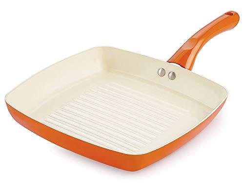Nirlon Ceramic Aluminium Non Stick Non Induction Grill Pan,Orange