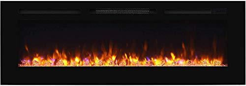 RICHEN Elektrokamin Fiamma - Elektrischer Einbaukamin (153 cm / 60') Mit Heizung, LED-Beleuchtung, 3D-Flammeneffekt & Fernbedienung - Elektrischer Kamin Schwarz