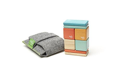 8 Piece Tegu Pocket Pouch Magnetic Wooden Block Set, Sunset