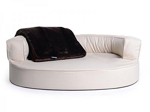 Letto per cani, divano per cani Atlanta in ecopelle, impermeabile, colore nero, scritta lingua inglese 'Feels Like Heaven'