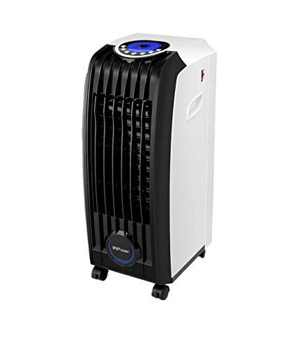 MVPower Rafraîchisseur d'air, Air Cooler Ventilateur, Humidificateur d'air,3-en-1,3-Vitesse, Fonction Télécommande 15m et Minuterie, avec Panneau LED, Filtre Poussière Intégré, Performance Économe 60W